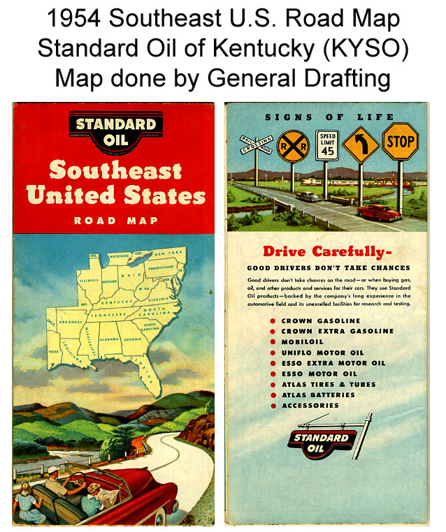 Details about 1954 Southeast United States Road Map from Standard Oil of  Kentucky (KYSO)
